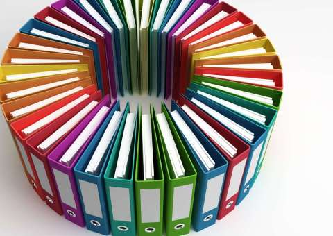 Portfolio. Multicolored binders arranged into a circle