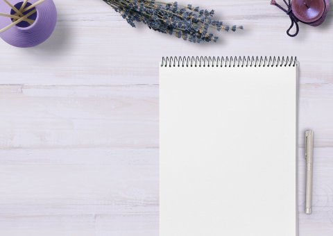 Curriculum Vitae. notebook with a purple background