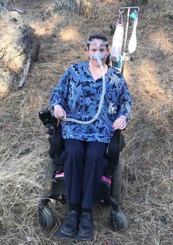 Keirsten in a wheelchair