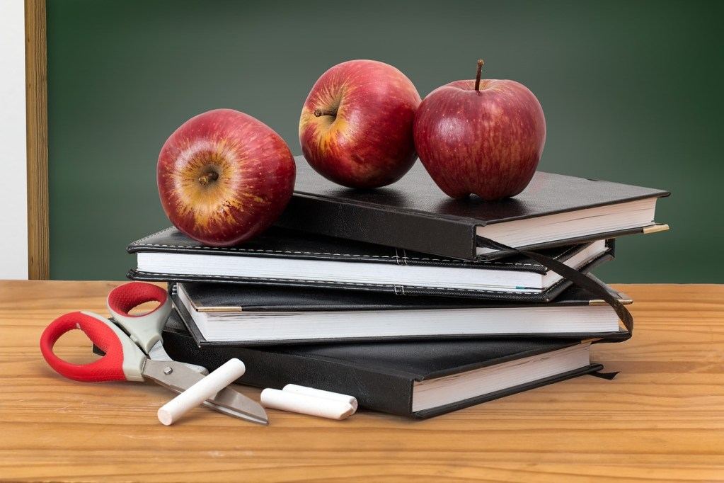 Anthropology 4U Academy. Stack of black notebooks and 3 red apples.