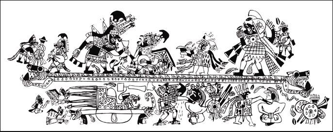 Sacrifice Ceremony Rollout on Moche Pottery