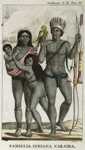An illustration of a Carib Indian family by John Gabriel Stedman