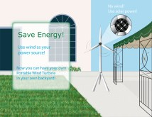 For this project I was suppose to invent a product and design an advertisement for it. I came up with a portable solar/wind turbine. This product is residential friendly, and anyone can use it as a small energy source when there is a power outage.