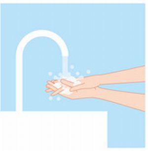 手を洗っている女性のイラスト