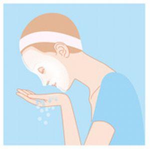 ぬるま湯で顔をすすぐイラスト
