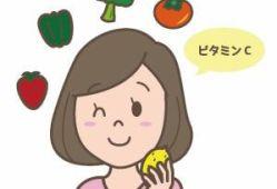 ビタミンCを食べ物で摂る人のイラスト