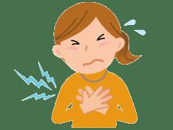 心筋梗塞になった女性のイメージ図