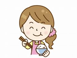 ご飯を食べる女性のイラスト