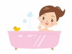 お風呂に入っている女性のイラスト