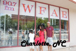 Charlotte, NC Postcard with WFAE radio station and family