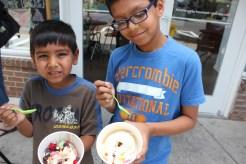 Eshaan and Aashrai eating ice cream at Birkdal Village