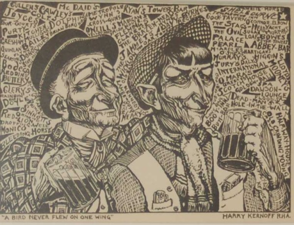 Harry Kernoff Woodcut A Bird Never Flew On One Wing