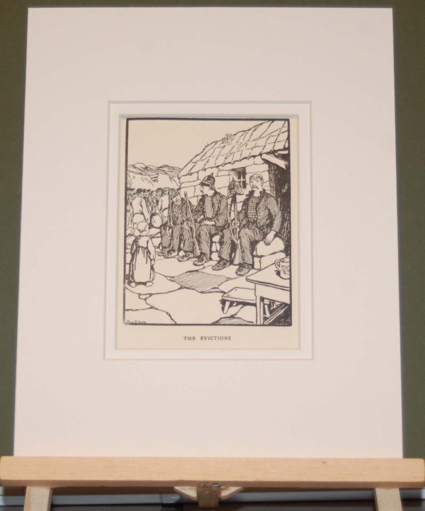 Jack B Yeats The Evictions, 1911 antique print. Printed in Dublin by Maunsell & Co