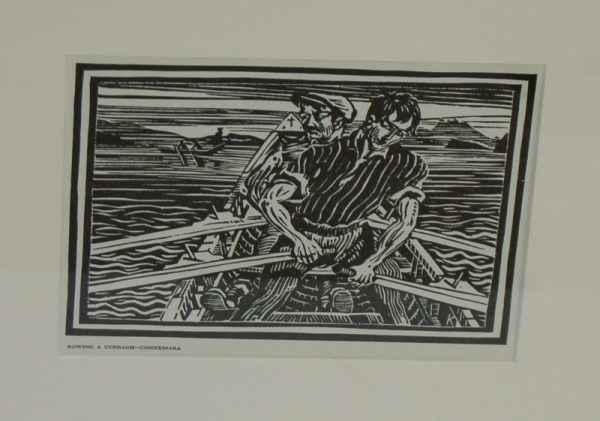 Rowing the currach 1948 Harry Kernoff woodcut print for sale