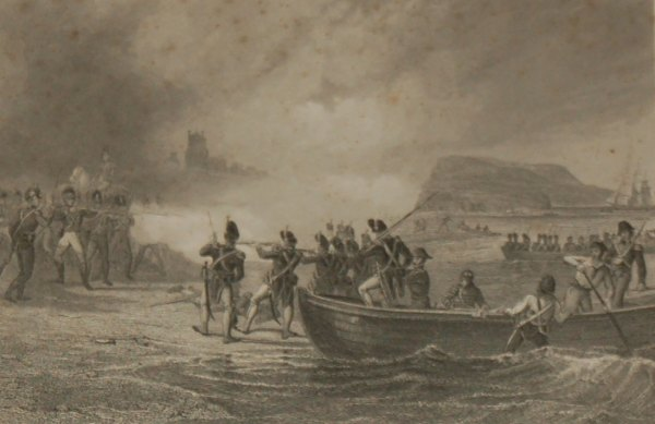 """An 1854 steel engraving titled """"The Landing of the French in Bantry Bay"""""""
