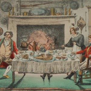 Henry Alken 1874 Print, mounted, 1874 Henry Alken Hand Coloured Print Jorrocks Hunt Breakfast A Terrible Surprise