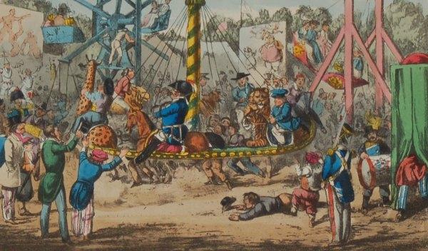 Henry Alken 1874 Print, mounted, 1874 Henry Alken Hand Coloured Print Mr Jorrocks Take A Ride At St Cloud .