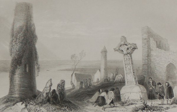 A circa 1860 engraving by H Griffiths after a painting by William Bartlett , entitled Ancient Crofs, Clonmacnoise.