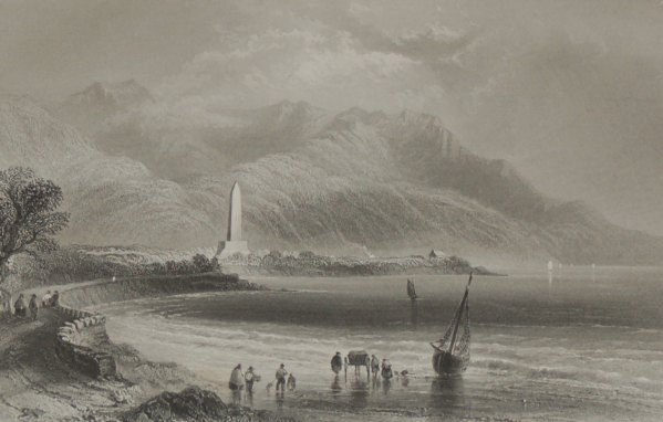 A circa 1860 engraving by Charles Cousen after a painting by William Bartlett , entitled Monument of General Ross.