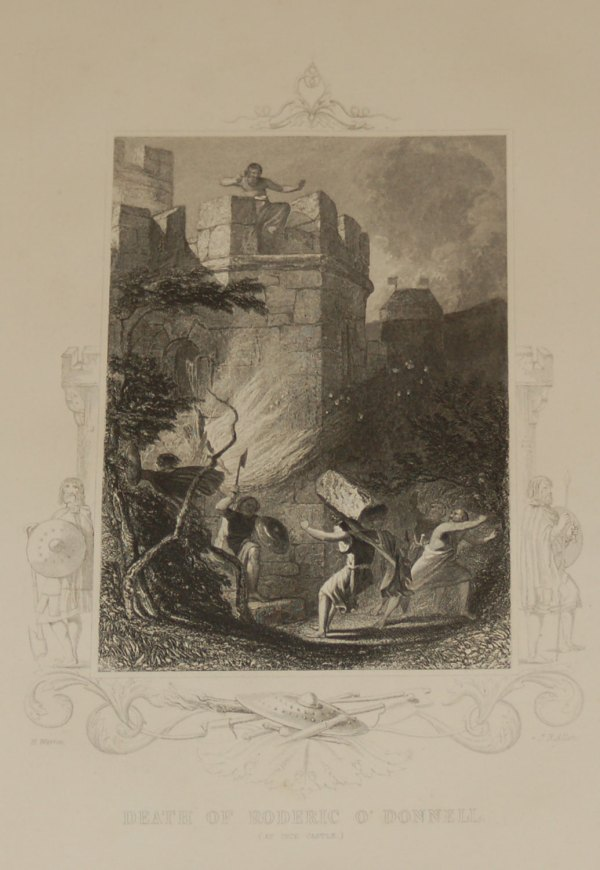 Antique print,1854 steel engraving Death of Roderic O'Donnell at Inch Castle.