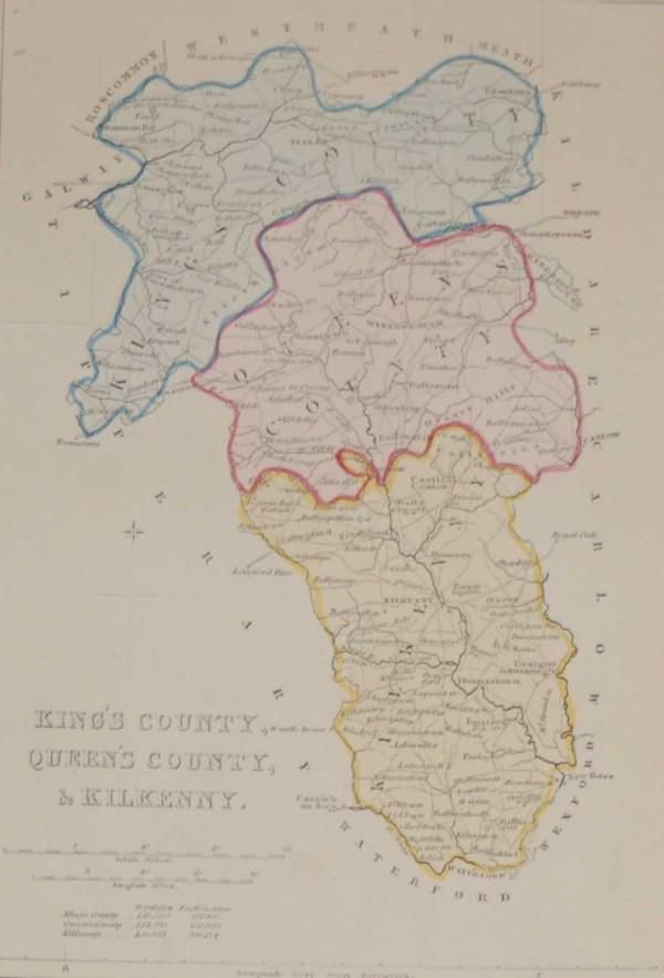 Antique Map Laois, Offaly & Kilkenny circa 1841