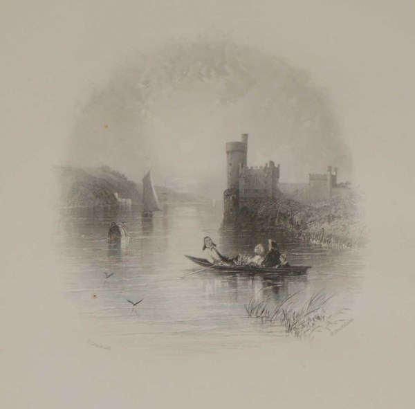 An antique steel engraving of Black Rock Castle in the cove of Cork. The print dates from 1837 and was published by Longman and Co in London.