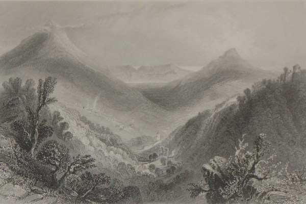 An antique steel engraving of Enniskerry, County Wicklow. The print dates from 1871 and was published by Virtue and Co in London.