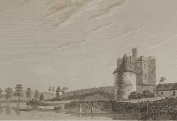 1797 Antique Print of Augher Castle in County Tyrone, Ireland. Augher Castle is believed to have been built cira 1615.
