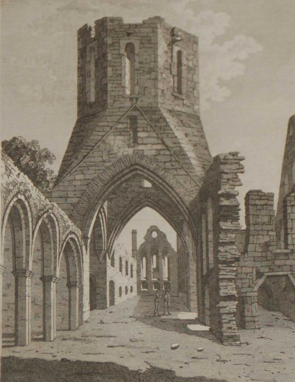 1797 Antique Print a copper plate engraving of Tristernagh Abbey in County Westmeath, Ireland.
