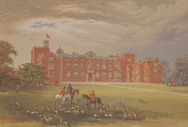 Antique colour print a chromolithograph from 1880 of Burton Hall an Elizabethan manor house.