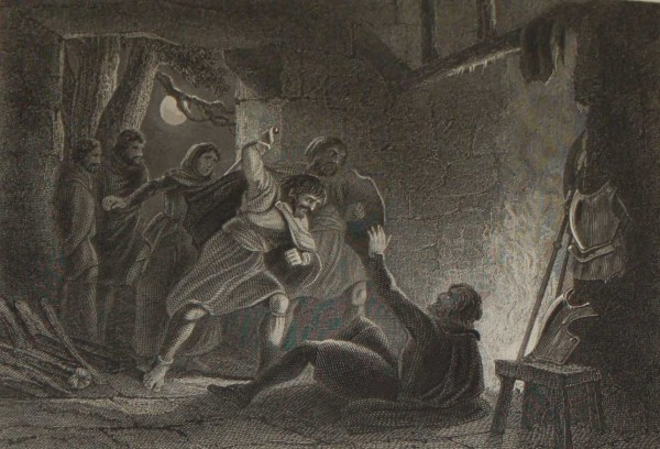 1854 antique print a steel engraving of the Death of the Earl of Desmond in 1583.