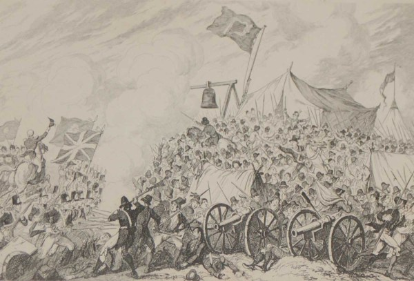 1864 Antique print an engraving Defeat of the Rebels at Vinegar Hill after George Cruikshank.