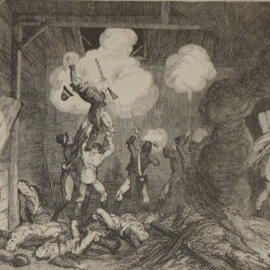 1864 antique print an engraving Rebels Storming the Turret at Lieut Tyrells after George Cruikshank.