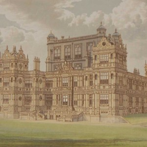 An antique colour print a chromolithograph from 1880 of Woolaton Hall in Nottingham