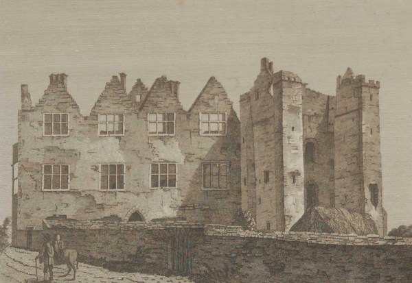 Antique print of Athlumney Castle in County Meath, Ireland. The structure was started in the 12th century with the castle dating from the 15th century.