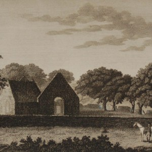 1797 Antique Print a copper plate engraving of the Church of Kilmaine in County Roscommon, Ireland.