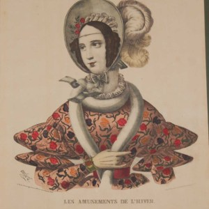 A vintage print, colour lithographt done by Mourlot in 1944 after the original print from circa 1849 titled Les Amusments De L'Hiver