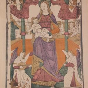 A vintage colour woodcut print done by Mourlot in 1944 titled La Vierge ave L'enfant Jésus This print was hand coloured at Establishment Beaufumé.