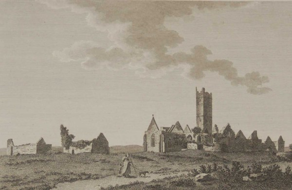 1797 antique print a copperplate engraving of Quin Abbey in County Clare, Ireland. It is a Franciscan Abbey near Ennis and was founded in the 14th century.