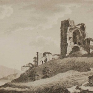 1797 antique print a copperplate engraving of Strancally Castle in County Laois, Ireland