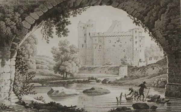 Antique print from 1817 by the famous Austrian engraver Benedict Piringer, titled, Vue du Chateau de Clisson, pris sous le Pont St Antoine.