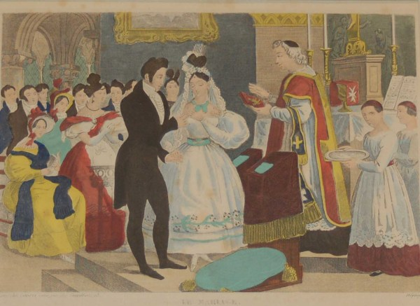 A vintage French art print, colour intaglio done by Mourlot in 1944 after the original print from circa 1835 titled Le Lever de la Mariée.