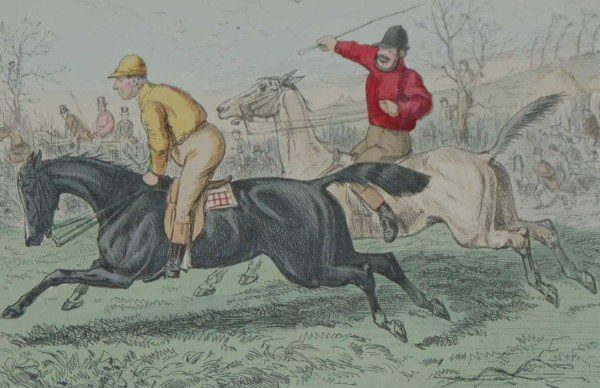 An 1858 hand coloured antique steel engraving by John Leech titled, The Great Match Between Mr Flintoff and Jack Rogers, signed in the plate.
