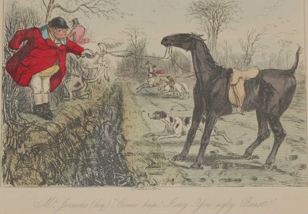 Original 1854 hand coloured antique sporting print, a steel engraving by John Leech titled, Mr Jorrocks, Come Hup! I say - you ugly beast.