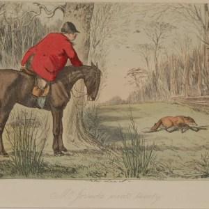 Original 1854 hand coloured antique sporting print, a steel engraving by John Leech titled, Mr Jorrocks Mounts Twenty.