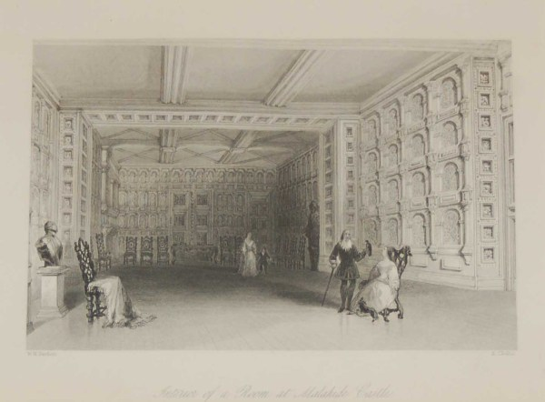Antique print a steel engraving of an Interior of a Room Malahide Castle. The engraving is after a drawing by William Bartlett and was engraved by E Challis.