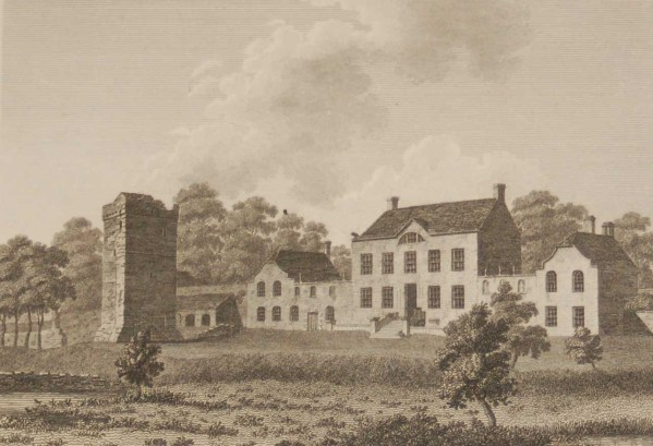 1797 Antique Print a copper plate engraving of Moon Abbey and Castle, County Kildare, Ireland.