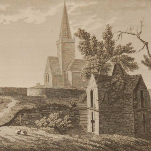 1797 Antique Print a copper plate engraving of St Doulagh's Church, Dublin, Ireland. It is the oldest stone roofed church still in use in Ireland.