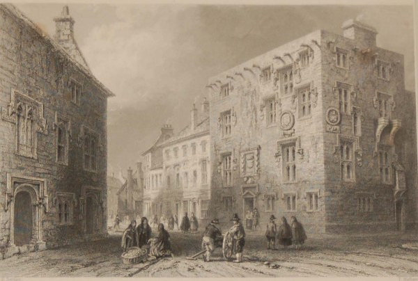 1841 Antique Steel engraving titled Street in Galway. The print was engraved by Thomas Higham and is after a drawing by William Bartlett.