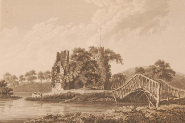 1797 antique print a copperplate engraving of Cloghgrennan Castle in County Carlow, Ireland. The prints lists the castle as in Laois.